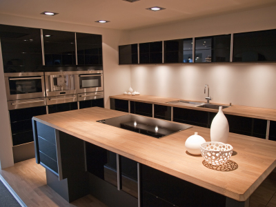 Butcher Block Kitchen Countertop Island with Black Cabinets