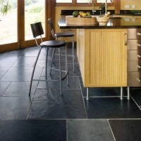 Black Slate Tile Kitchen FLooring